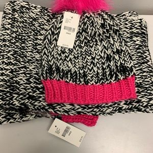 Black, White and Hot Pink hat & scarf set